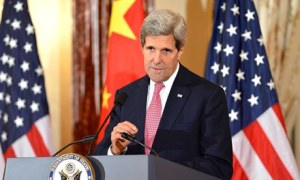 US secretary of state John Kerry in Washington on Friday. Later in the day, he boarded a plane to Geneva. Photograph: Sipa USA/Rex