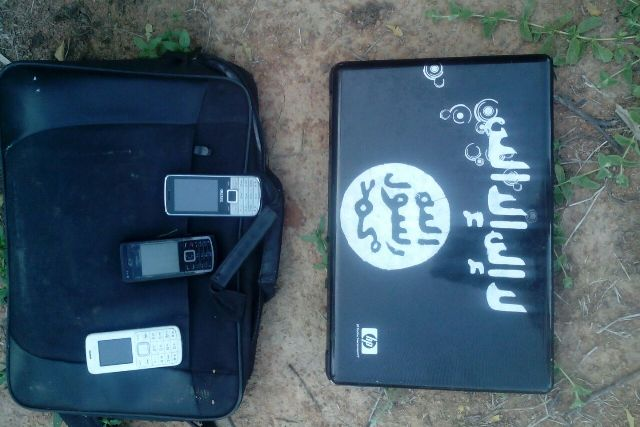 Laptops and phones seized from the terrorists
