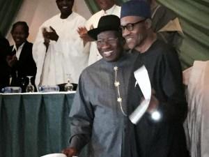 Jonathan and Buhari hug at new Peace Agreement