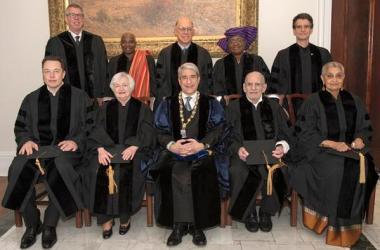 Pictured are (standing, from left) Jeffrey Friedman, Angelique Kidjo, Peter G. Schultz, Ngozi Okonjo-Iweala, Dean Kamen, (seated, from left) Elon Musk, Janet Yellen, President Peter Salovey, Larry Kramer, and Gayatri Spivak. (Photo by Joy Bush)