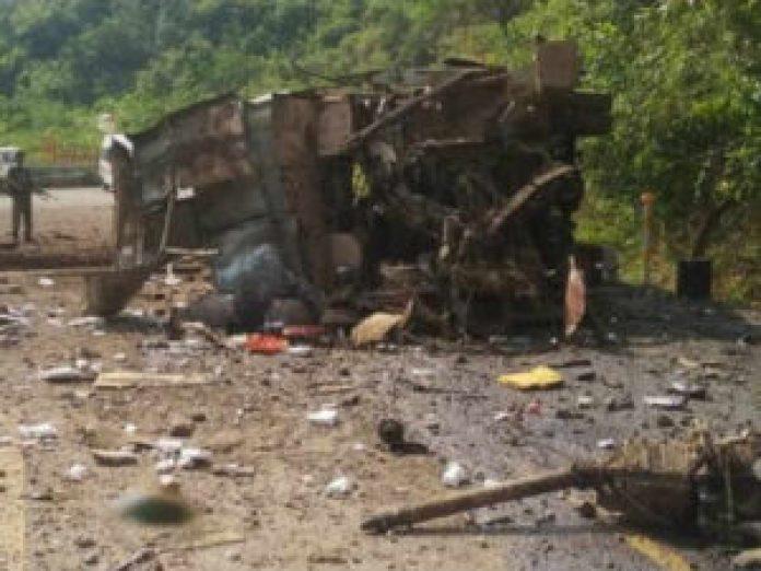 four persons killed as naxals blast bus near bacheli chhattisgarh