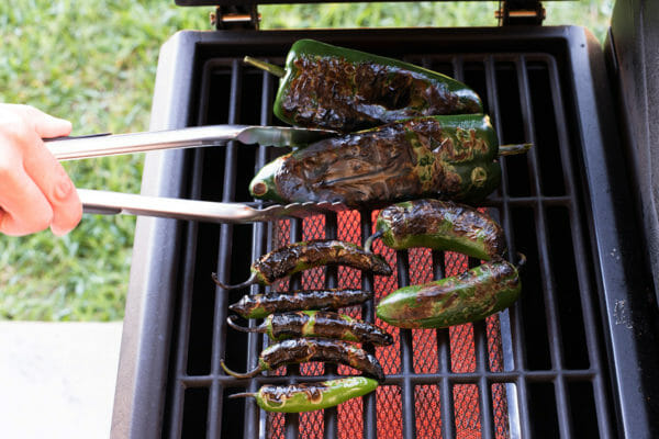 Guacamole with Chili Peppers - charred peppers on the grill