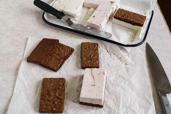 Chocolate and Vanilla Ice Cream Sandwich - ice cream sandwiches being assembled