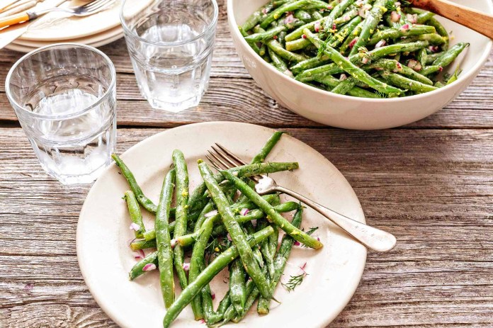 Easy Green Bean Side with Dill and Lemon - green beans on a plate with a fork