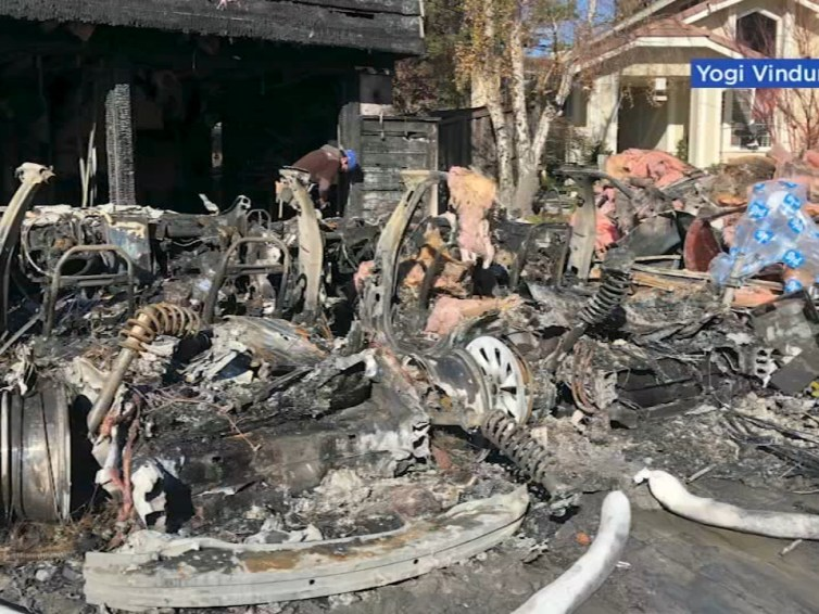 Tesla car battery causes devastating house fire, sleeping couple almost burnt alive by Tesla battery fire