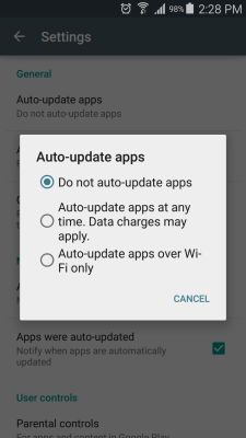 Google Play auto update off