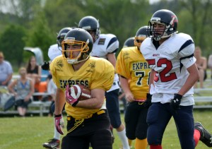 TNT's Justin Brewer leaves the pack behind him during  a sprint down field in Sunday's game against the Vaughan Rebels.