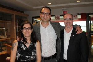 Alliston Chamber of Commerce representatives Crystal Kellard, executive director, David Potocki, president, and director and Ward 1 councillor Marc Biss.