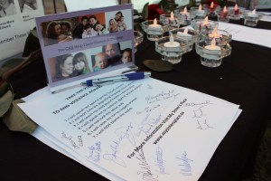 A facts and information table was set up in honour of the victims of the Montreal massacre. Additional information was also provided regarding missing an murdered aboriginal women and girls.