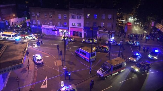 Man dies as van hits London mosque crowd