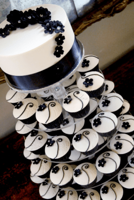 Black-and-Ivory-Wedding-Cupcake-Tower