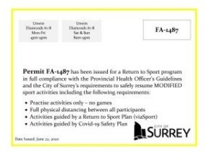 City of Surrey FA-1487 Display permit for Newton Baseball Association