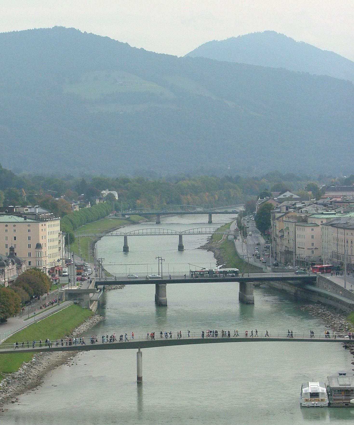 Five bridges crossing the Salzach River at Salzburg