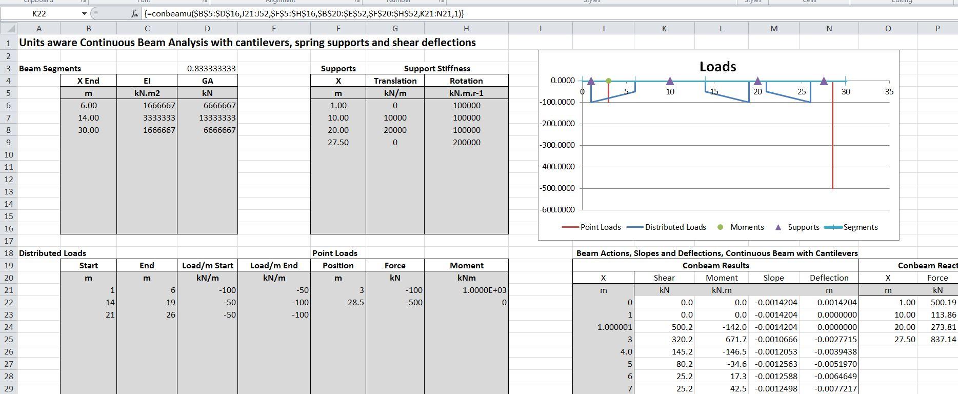 Unit Aware Continuous Beam Spreadsheet Update