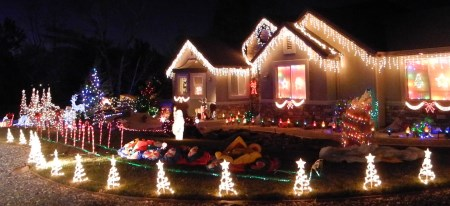 Christmas holiday lights, home in Reno, Nevada, NV