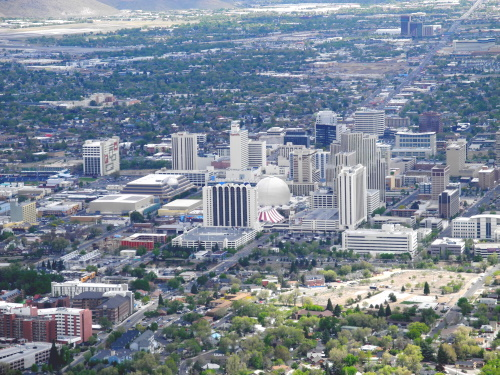 Aerial view, downtown Reno, Nevada, NV