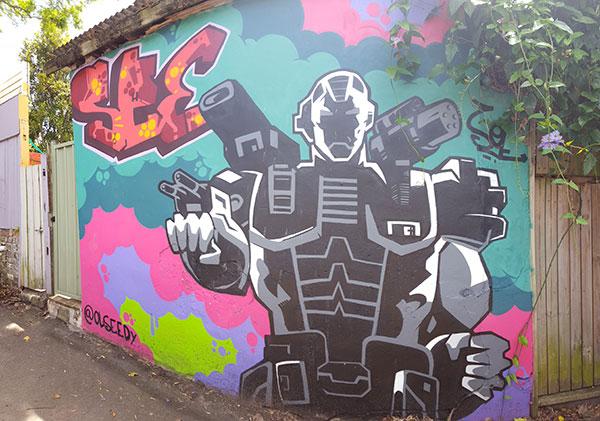 Newman Lane Graffiti Street Art Robot