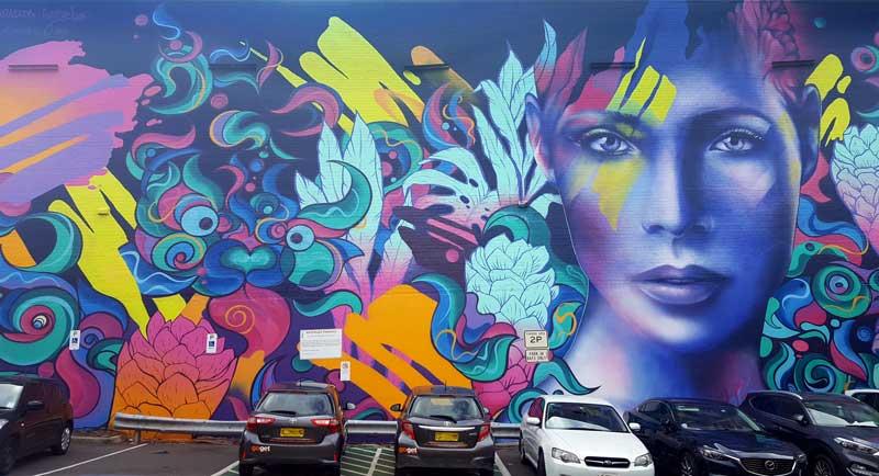 Street art graffiti in Wilson St Car Park
