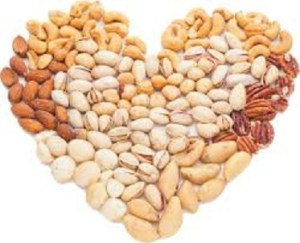 Nuts in a heart shape