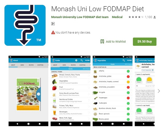 Monash Low FODMAP diet app review - FODMAP phone apps iphone Android