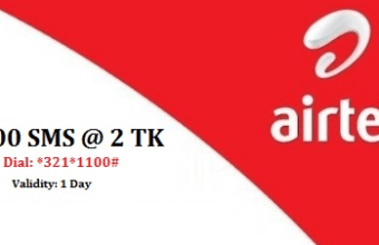 Airtel 100 SMS 2 TK Offer Validity 1 Day