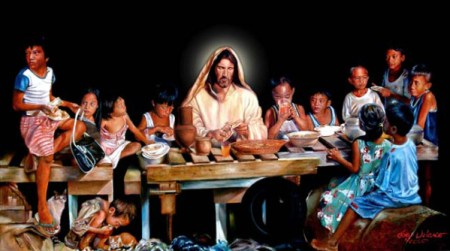 Last Supper of Jesus with Brazilian streetchildren as by Joey Velasco, artist