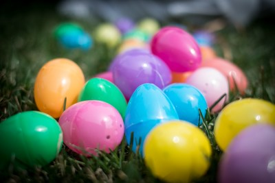 Close-up of colorful plastic Easter Eggs, ready for a hunt