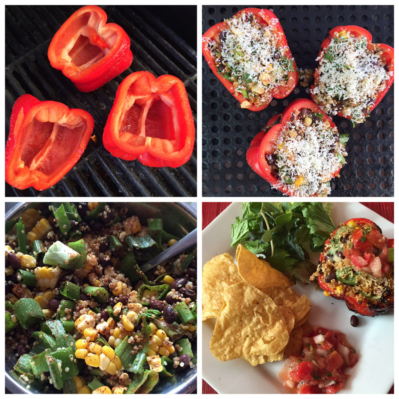 Red peppers: Greendale Herb and Vine; Stuffing: Roasted corn: Country Village Market; Italian onion stems: Yarrow EcoVillage; Cilantro: Zaklan Heritage Farm. Tortilla chips and pico de gallo: Muy Rico. Mixed greens: Zaklan Heritage Farm