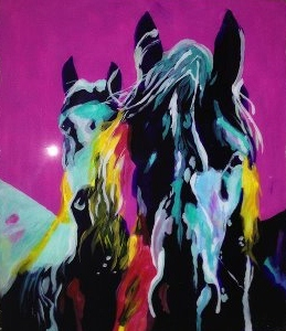 Horses on glass