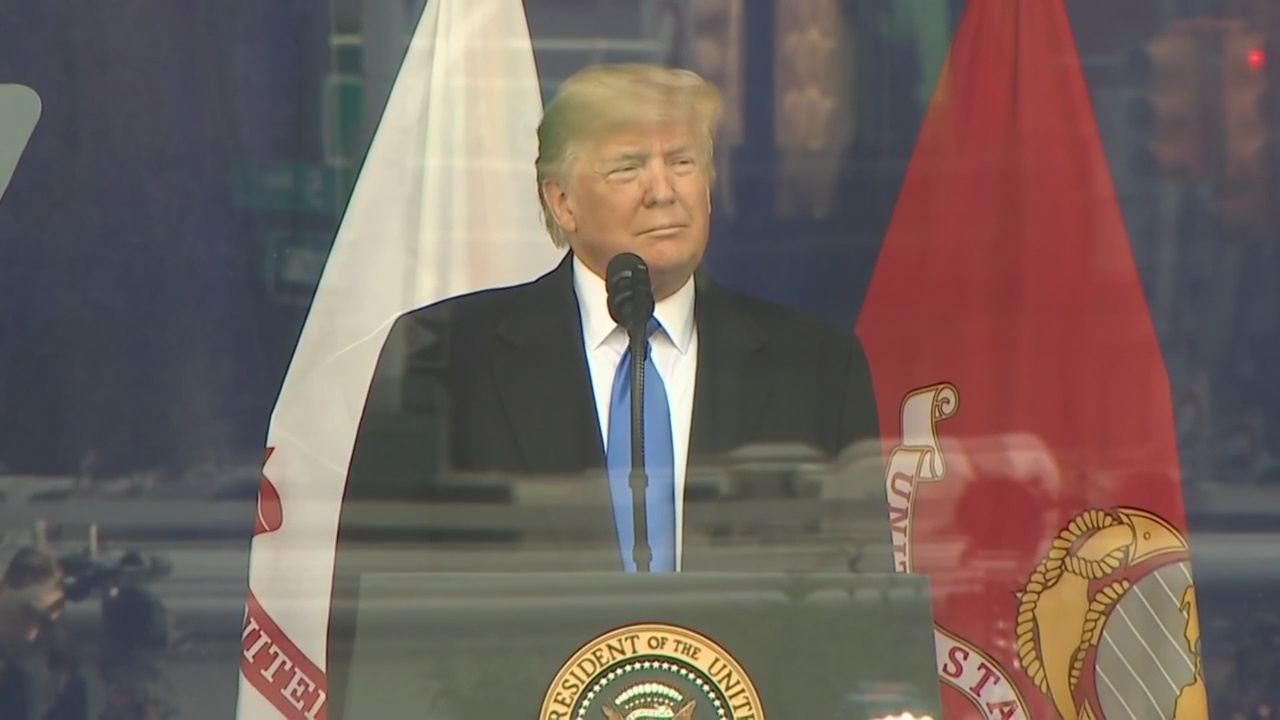 President Trump Speaks At Opening Ceremony Of 100th Annual Veterans Day Parade In NYC