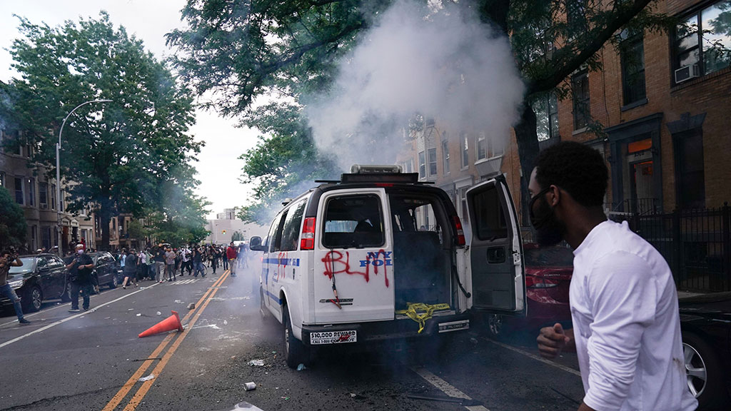 Cop Cars Set On Fire, NYPD Cruiser Drives Into Crowd In Brooklyn During Third Night Of Protests Over George Floyd's Death
