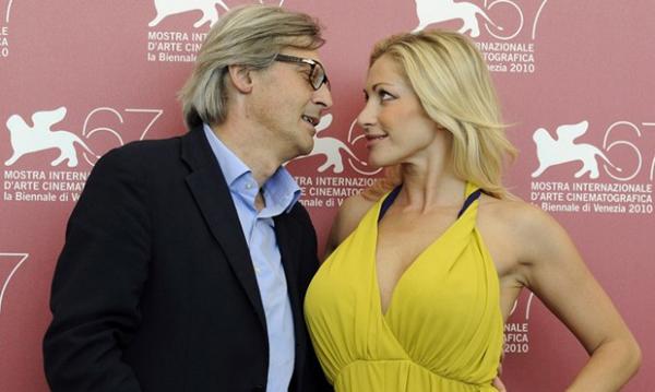 Vittorio Sgarbi with Vittoria Risi at the Biennale del Cinema.