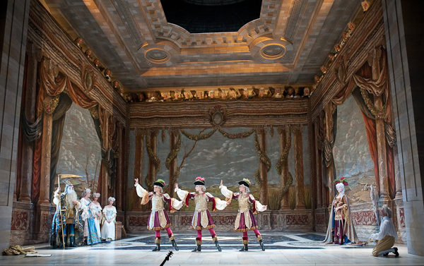 Members of Les Arts Florissants and L'Opera Comique in the Prologye to Atys. Photo Stephanie Berger.