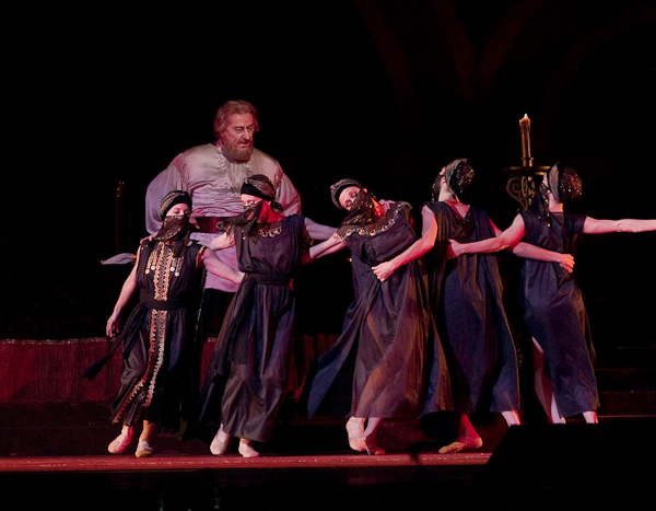 Khovansky watches his Persian slave girls dance (choreography by Benjamin Millepied). Photo: Ken Howard/Metropolitan Opera/
