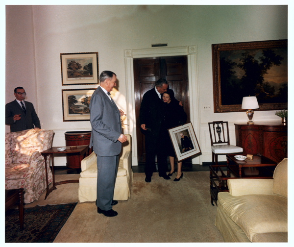 President Lyndon B. Johnson and Lady Bird Johnson move into the White House, 7 December 1963. LBJ Library photo by Cecil Stoughton.