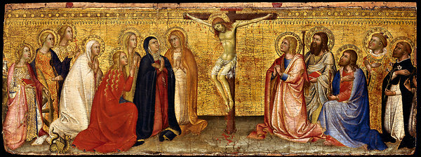 Bartolo di Fredi, The Adoration of the Crucifix. Tempera and gold leaf on panel. Lindenau-Museum, Altenburg.