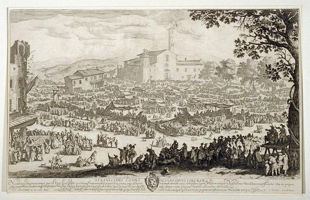 Jacques Callot, La Fiera di Impruneta, etching and engraving. Fine Arts Museums of San Francisco.