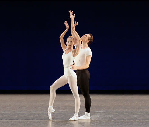 Maria Kowroski and Sébastien Marcovici in Movements for Piano and Orchestra. Photo by Paul Kolnik.