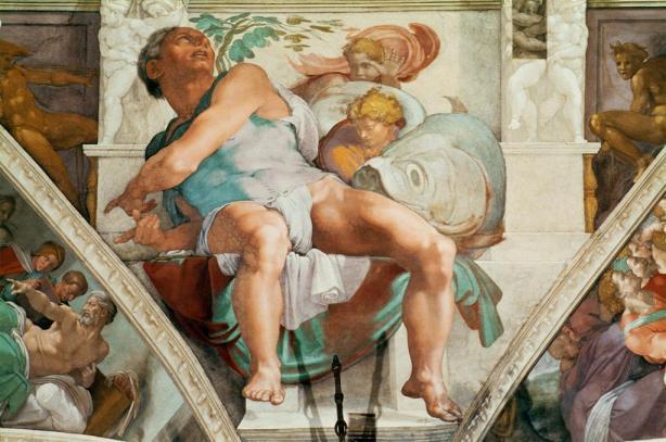 Michelangelo Buonarroti, Sistine Chapel Ceiling, The Prophet Jonah.