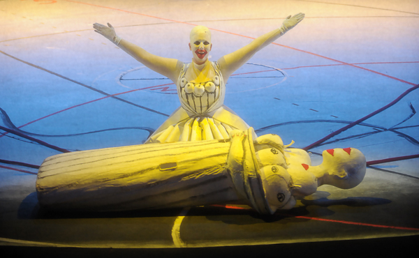 Freia expostulating over her outer costume in Achim Freier's production of Wagner's Das Rheingold.