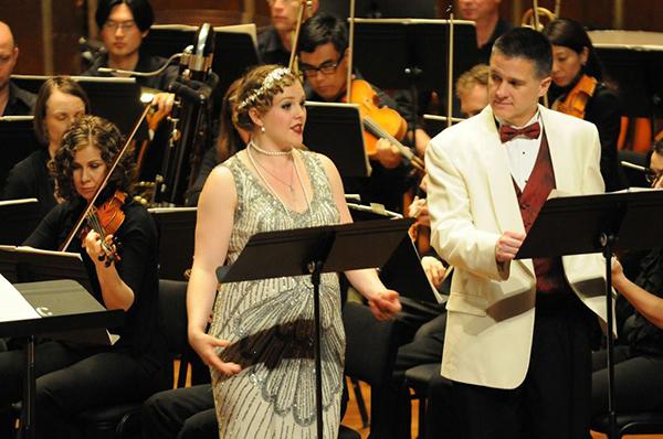 Devon Guthrie as Daisy and Gordon Gietz as Gatsby in Emmanuel Music's production of John Harbison's The Great Gatsby. Photo: Julian Bullitt.