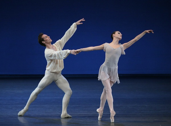 Tiler Peck and Gonzalo Garcia in Andantino, Choreography by Jerome Robbins, New York City Ballet. Photo by Paul Kolnik.
