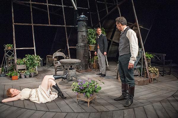 "Wrenn Schmidt, Max Gordon Moore, and John Turturro  in ""The Master Builder"" at BAM. Photo Stephanie Berger."