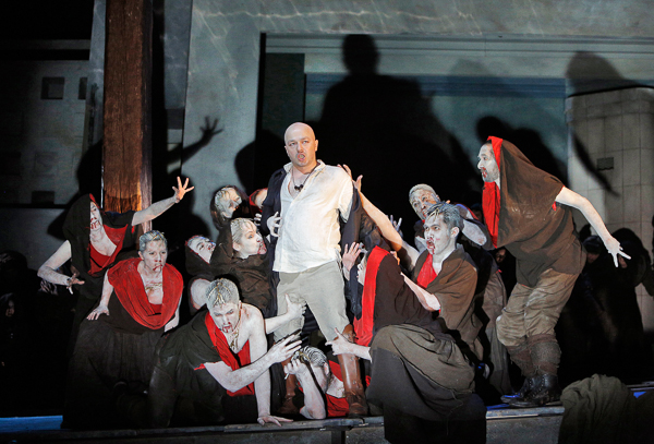 Orestes surrounded by the Furies (Bard Festival Chorus). Photo Cory Weaver.