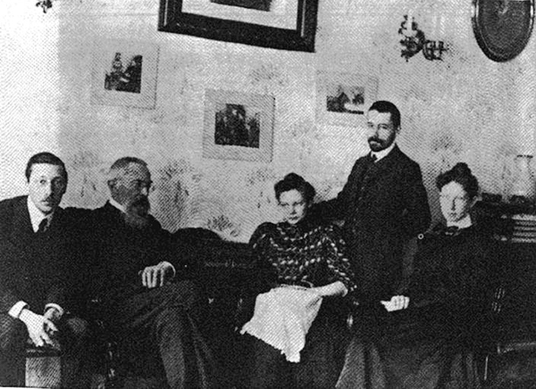 Stravinsky, Nikolay Rimsky-Korsakov, Nadyezhda Rimsky-Korsakov Steinberg, Maximilian Steinberg, Yekaterina Stravinsky, 1908.