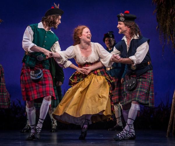 Brigadoon at the Goodman Theatre, Chicago: Jamy Meek (Ensemble), Maggie Portman (Meg Brockie) and Richard Strimer (Ensemble)