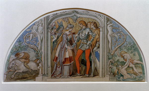 Moritz von schwind, The conclusion of Schubert's Die Verschworenen, flanked by Erlkönig and Der Fischer, watercolor and gouache, study for the Vienna Opera.