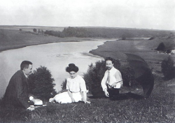 Alexander Scriabin, Tatiana Schloezer and Leonid Sabaneev on the banks of the Oka
