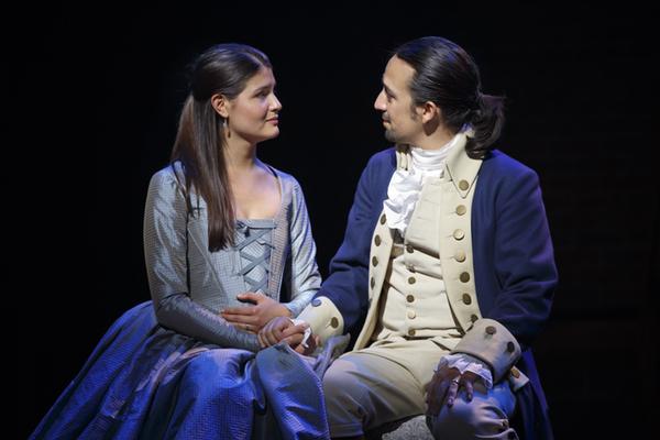 Phillipa Soo and Lin-Manuel Miranda in Hamilton. Photo Joan Marcus.
