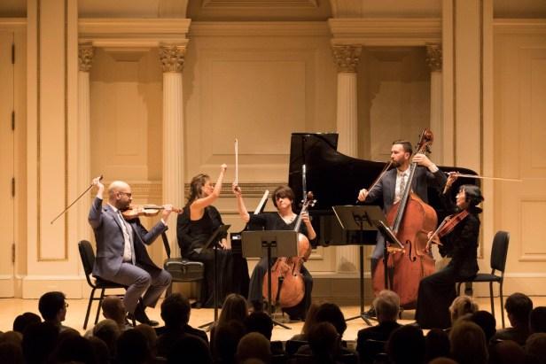"John Marcus, Violin; Eriko Sato, Viola; Ruth Sommers, Cello; Logan Coale, Double Bass; Tanya Bannister, Piano play Schubert's ""Trout"" Quintet. Photo © 2017 Richard Termine."